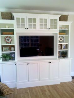 1000 images about entertainment center decor on pinterest for Built in entertainment center using kitchen cabinets