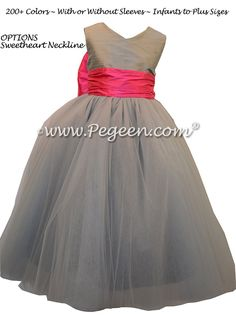 3a1c92f9d9 morning gray and hot pink silk and tulle flower girl dresses Style 402