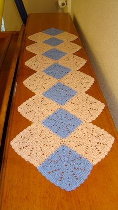 Fun and Easy Table Runner! This runner measures about 33 inches long and 4 ½ inches wide.  This crochet runner is easily adjustable to fit your needs. It is made from Aunt Lydia's Bamboo blend – Size 10 Thread.