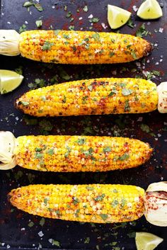 Nothing says summer quite like grilled corn on the cob, and this grilled cilantro, lime + paprika corn on the cob is is packed with oodles of beloved summery flavors. Sweet corn is grilled to… Comida Latina, Cooking Recipes, Healthy Recipes, Grilled Vegan Recipes, Healthy Cafe, Grilled Desserts, Fast Recipes, Grilled Vegetables, Vegetable Recipes