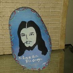 #silueta #jesucristo pintado en piedra #art🎨  #pictures