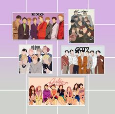 Exo Stickers, Printable Stickers, Kpop Logos, Rainbow House, Instagram Frame Template, Anime Art Fantasy, Bts Pictures, Girls Generation, Nct Dream