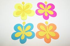 Die Cut Hawaiian Luau Party Flower Cards DIY by Paperquick on Etsy, $1.75