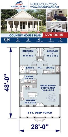 Plan 1776-00115 offers a Country style home with 1,120 sq. ft., 2 bedrooms, 2 bathrooms, a kitchen island, and an open floor plan. #country #architecture #houseplans #housedesign #homedesign #homedesigns #architecturalplans #newconstruction #floorplans #dreamhome #dreamhouseplans #abhouseplans #besthouseplans #newhome #newhouse #homesweethome #buildingahome #buildahome #residentialplans #residentialhome