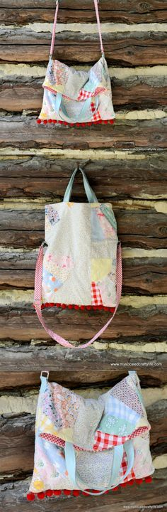 DIY Upcycled Vintage Quilt Crossbody Tote Bag with Leather Handles - Sale! Shop at Stylizio for womens and mens designer handbags luxury sunglasses watches jewelry purses wallets clothes underwear more! Quilted Shoulder Bags, Quilted Bag, Upcycled Crafts, Upcycled Vintage, Pochette Diy, Crossbody Tote, Fabric Bags, Vintage Quilts, Sewing Clothes