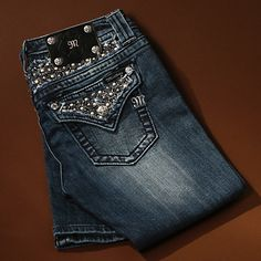 d32da40abbe Miss Me Pearls and Studs Boot Cut Jeans Cut Jeans