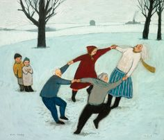 Giclee Print - In an exuberant celebration of life, four people join hands to dance in the snow. Giclee print of an original oil painting, printed with archival pigment ink on archival Hahnemuhle William Turner fine art paper. Signed and numbered. Brian Kershisnik, Hunters In The Snow, Circle Painting, Baby In Snow, Lds Art, Dance Paintings, Painting Snow, American Artists, Contemporary Artists