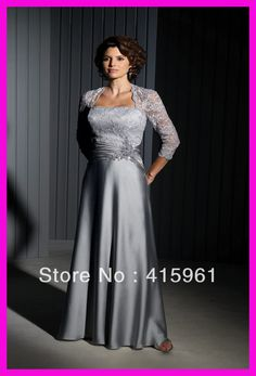 One Piece Silver Lace Satin Long Plus Size Mother of the Bride Dresses Gowns M383 $123.00