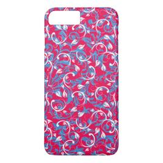 Cute pink blue abstract floral pattern design iPhone 7 plus case