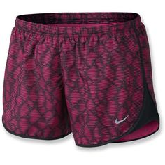Nike Modern Printed Tempo Shorts ($45) ❤ liked on Polyvore featuring activewear, activewear shorts, shorts, athletic, nike, nike activewear, athletic sportswear and nike sportswear