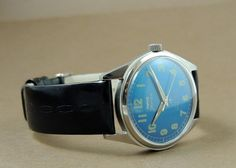 Vintage HMT Jawan HandWind 17Jewel India Mechanical Blue Dial Military Watch #HMT #Casual
