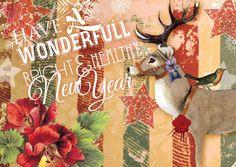 ViolArt Deer Christmas Card