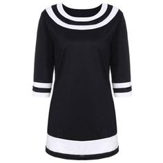 Brief Color Spliced Round Collar 3/4 Sleeve Dress For Women