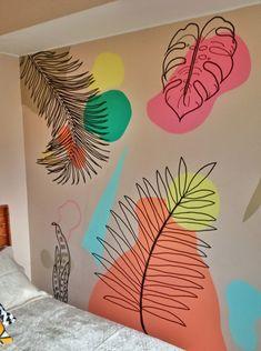 Creative Wall Painting, Wall Painting Decor, Mural Wall Art, Creative Walls, Wall Decor, Diy Canvas, Paint Designs, Diy Art, Wall Design