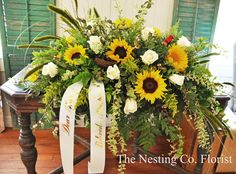 Sunflower and White Rose Casket Spray by Heidi Jaster of The Nesting Company Florist Casket Flowers, Grave Flowers, Cemetery Flowers, Funeral Flowers, Rustic Flower Arrangements, Sunflower Arrangements, Funeral Flower Arrangements, Remembrance Flowers, Memorial Flowers