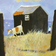 'Dog On The Beach' By Painter Tessa Newcomb.  Blank Art Cards By Green Pebble. www.greenpebble.co.uk