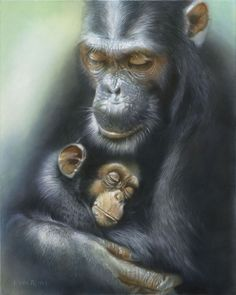 """""""Love Survives"""" By John Rowe - Limited Edition of 50 on Canvas, 20x16.  #Disney #Chimpanzee #DisneyFineArt #JohnRowe"""