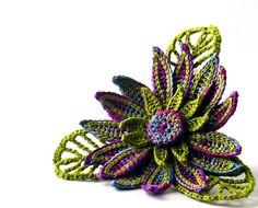 Crochet Brooch Fiber Brooch Flower Irish Crochet Pin Daisy Berry Purple Light Indigo Chartreuse Green via Etsy
