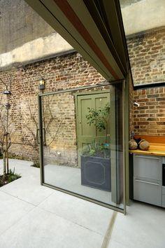 Glass Extension, Rear Extension, Exposed Brick Walls, Pivot Doors, Glass Roof, Roof Design, Sliding Glass Door, Modern Industrial, Minimal Design