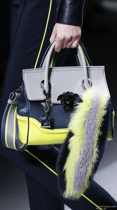 Fall 2016 Ready-to-Wear Versace. Fabulous bag in yellow, blue and grey.