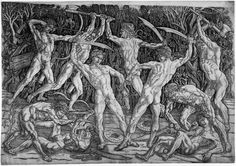 Battle of Ten Nudes, engraving by Pollaiuolo 1465 42.4 x 60.9 cm fighting in pairs with weapons in front of a dense background of vegetation. All the figures are posed in different strained and athletic positions, and the print is advanced for the period in this respect.