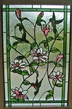 Stained glass window hummingbirds