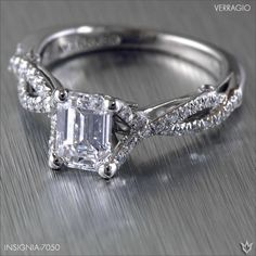 Insignia-7050 set with an elegant Emerald cut diamond for a timeless engagement ring.  Learn more> http://www.verragio.com/Verragio-Engagement-Rings/Insignia-Engagement-Rings/INSIGNIA-7050