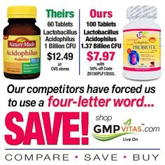 Four-Letter Word  #gmpvitas #healthy #save #difference #quality #frugal