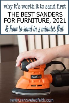 Sand furniture in less than 5 minutes with these low-cost sanders! Also explained is why it's so worth it to sand first. Here are reviews of the best sanders for wood furniture & other DIY projects. Also included is the best sander for refinishing cabinets. This palm sander is such a time saver and incredibly cheap! This post includes a wood sandpaper grit chart and explains how to sand wood with an electric sander. White Washed Furniture, Distressed Furniture, Farmhouse Furniture, Repurposed Furniture, Rustic Furniture, Bedroom Furniture, Glazing Furniture, Furniture Refinishing, Painting Furniture