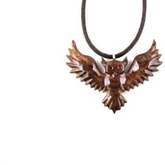 Owl Pendant, Owl Necklace, Owl Jewelry, Flying Owl Pendant, Wood Owl... ($28) ❤ liked on Polyvore featuring jewelry, pendants, wooden pendant, owl jewellery, animal pendant, carved pendant and owl jewelry