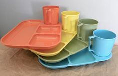 Set of 4 Colonial Plastic Trays With Cups   $25 At the FlyOn Shop