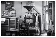 The coffee bean roaster at www.MuddyBuck.com in Evergreen, Colorado - a creative district.