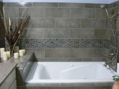 Tile tub surround by Darrow's CarpetsPlus COLORTILE, Stanwood, WA. (360) 629-9604 www.carpetstanwood.com www.facebook.com/darrows.carpets Bathroom Ideas, Shower Ideas, Tile Tub Surround, Carpets, Bathtub, Facebook, Design, Bathtub Tile, Farmhouse Rugs