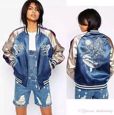 Baseball Women Bomber Jacket Satin Embroidery Street Style Coat Long Sleeve Stand Collar Female Jaqueta New Abrigos Basic Coats Ah1031 Biker Jackets Coat For Men From Shadowking, $27.14  Dhgate.Com