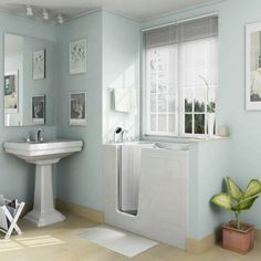 Bathroom, : Engaging Small Bathroom Renovation Design Using Light Blue Bathroom Wall Paint Including White Pedestal Bathroom Sink And Bathtub Shower Combinations