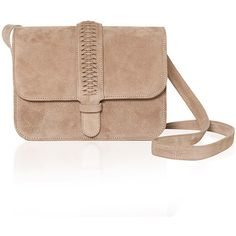 Grace Atelier de Luxe Colette Shoulder Bag in Powder Beige Suede ($900) ❤ liked on Polyvore featuring bags, handbags, shoulder bags, woven handbag, suede shoulder bag, beige shoulder bag, suede leather handbags and suede purse