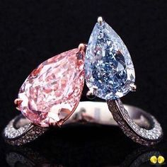 """Novel Collection Asia. Our latest """"me to you"""" design, set with the rarest fancy intense pink and fancy intense blue pear shaped diamonds, a phenomenal of rarity like never before! #NovelcollectionAsia #NovelCollection #NaturalNovel #FancyPinkDiamond #LooseDiamonds #EngagementRing #Diamonds #FancyShape #FancyColor #RadiantCut #PinkDiamonds #Rings #Jewellery #FancyBlueDiamond #FancyIntensePink #FancyIntenseB..."""