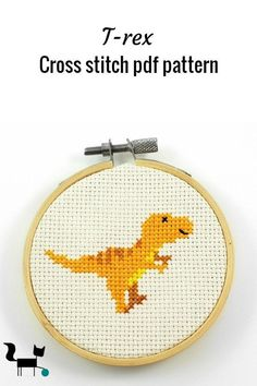 This cute little Trex, is the dinosaur in line of 5 cross stitch patterns that I designed as boy room decor. It is a great beginners pattern and only uses 6 DMC colors Cross Stitch Bookmarks, Mini Cross Stitch, Simple Cross Stitch, Cross Stitch Borders, Modern Cross Stitch, Cross Stitch Designs, Cross Stitching, Cross Stitch For Kids, Disney Cross Stitch Patterns