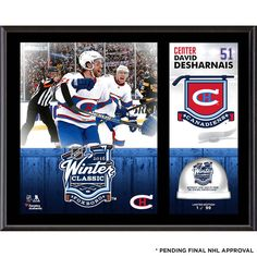 """David Desharnais Montreal Canadiens Fanatics Authentic 12"""" x 15"""" 2016 Winter Classic Sublimated Plaque with Game-Used Ice - Limited Edition of 99 - $47.99"""