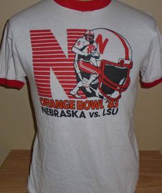 fcba8b747e8 vintage 1983 Nebraska Cornhuskers Orange Bowl t shirt Large