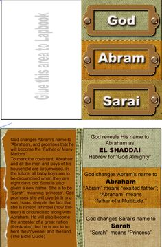 Free Bible Lessons & Lapbooks: Genesis: Abram & Sari Names Lesson