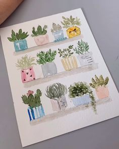 Doodle drawing for your bullet journal, succulent cactus step by step . Watercolor Cards, Watercolour Painting, Watercolor Flowers, Painting & Drawing, Watercolors, Cacti And Succulents, Potted Plants, Succulents Wallpaper, Succulents Drawing