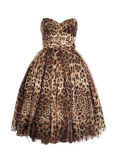 Strapless Leopard-print Dress.