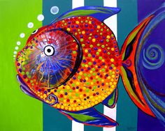 #14 this painting of a fish is representational yet abstract because it's more of a cartoon version of a fish vs a real species of fish