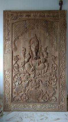 Ganesh Pooja Room Design, Drawing Room Ceiling Design, House Main Door Design, Furniture Design Wooden, Wood Carving Designs, Small House Design, Wood Bed Design, Door Glass Design, Single Door Design