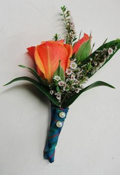 Blue Green Orange White Boutonniere Fall Summer Wedding Flowers Photos & Pictures - WeddingWire.com