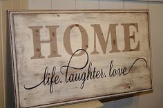 Sign from old cabinet door