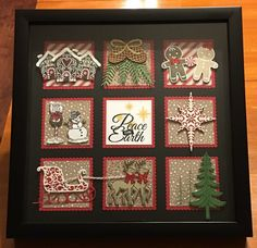 Winter Christmas sampler by Robin Stelly Goens Christmas Shadow Boxes, Christmas Frames, Christmas Tag, Christmas Projects, Christmas Decorations, Winter Christmas, Christmas Ideas, Christmas Scrapbook, Stampin Up Christmas