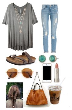 """""""Day out"""" by southerngirlswearpearls ❤ liked on Polyvore featuring Birkenstock, Raquel Allegra, Frame Denim, With Love From CA, Gianfranco Ferré, Lonna & Lilly, Free People and Ilia"""