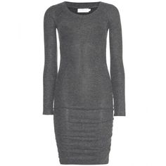 Velvet Katherina Ruched Jersey Dress ($135) ❤ liked on Polyvore featuring dresses, grey, gray dress, rouched dress, grey dress, gray ruched dress and grey jersey dress
